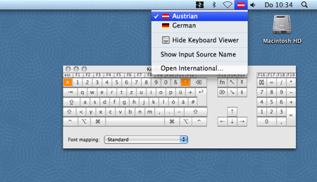 Screenshot of Virtual Keyboard in Mac OS X 10.5